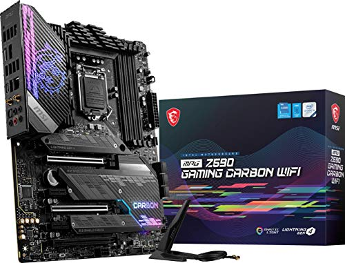 MSI MPG Z590 Gaming Carbon WiFi Gaming Motherboard (ATX, 11th 10th Gen Intel Core, LGA 1200 Socket, DDR4, PCIe 4, CFX, M.2 Slots, USB 3.2 Gen 2, Wi-Fi 6E, DP HDMI, Mystic Light RGB)