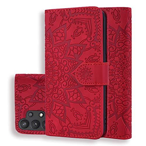 Handyhülle für Samsung Galaxy A32 5G Hülle PU Leder Ständer Schutzhülle Flip Brieftasche Case mit Tasche, Kartenfächer und Magnetschnalle, Klapphülle für Samsung Galaxy A32 5G, 6,5 Zoll,Rot