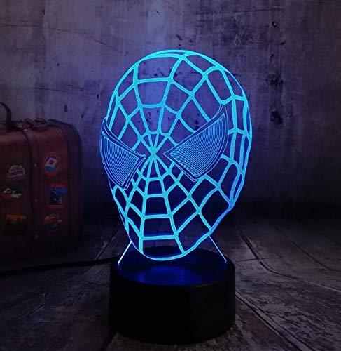 dwqerwre 3D Nachtlampe 2019 neue 3d spiderman nachtlicht controller taschenlampe laterne 7 farbe ändern schreibtischlampe haus dekoration bar cafe kind geschenk lava