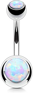 FIFTH CUE Synthetic Opal Set Double Jeweled 316L Surgical Steel Navel Belly Button Ring