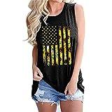 Mayntop Camiseta sin mangas para mujer, con diseño de bandera de Estados Unidos, 4 de julio, camiseta con cuello en O, C-negro, 36