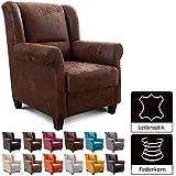 Cavadore Sessel Finja mit Federkern / Ohrensessel im Landhausstil / passender Hocker separat erhältlich / 87 x 102 x 96 / Lederoptik Braun
