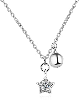 Necklace 100% 925 Sterling Silver Trendy Little Star Bell Crystal Ladies Pendant Necklace Jewelry Women Short Choker Chain...