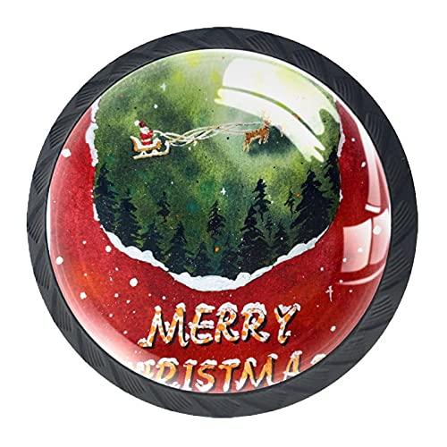 4 Pcs Cabinet Knobs Crystal Glass Drawer Handles,Merry Cristmas in 2020 Santa Claus Sleigh Reindeer,for Dresser Desk Kitchen Door
