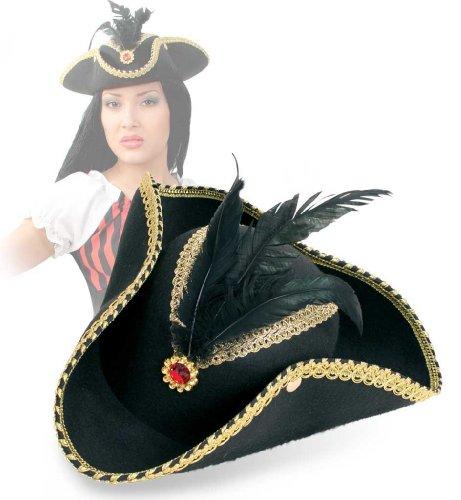 Carnaval chapeau de pirate 38421 élégant noir strass neuf/emballage d'origine