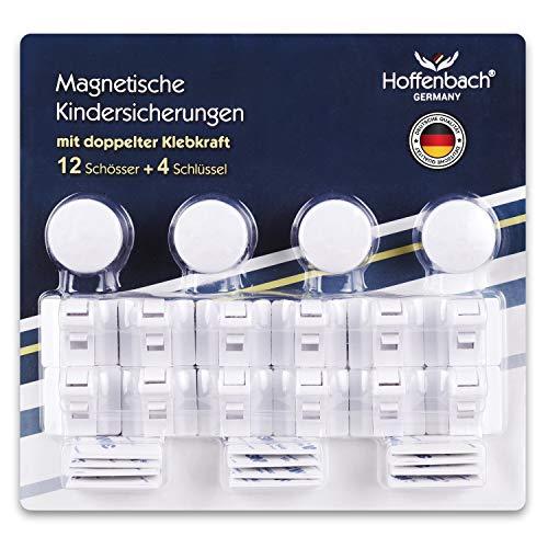Magnetische Kindersicherung Schrank Hoffenbach® | 12+4 | Unsichtbare Schranksicherung 3M zum kleben | Schubladensicherung für Baby und Kinder | Deutscher Hersteller | 100% Sicherheit