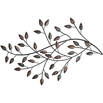 Comfy Hour 32 Width Multi-Color Handcrafted Metal Art Branch and Leaves Wall Decor 21283