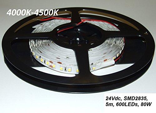 Tira de Luz LED, 24VDC, SMD2835, 120LEDs/m, 16.0W/m, blanca natural 4000K-4500K, 10mm PCB, IP20, 5m a roll (80W, 600LEDs), LED flexible tape/strip