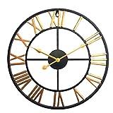 LVPY Wanduhr im Antik-Look aus Metall, Durchmesser 40 cm, Wanduhr Lautlos für Wohnzimmer, Küche, Büro und Schlafzimmer, Gold