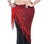 Nalmatoionme - Cadena triangular para bailar del vientre, color rojo