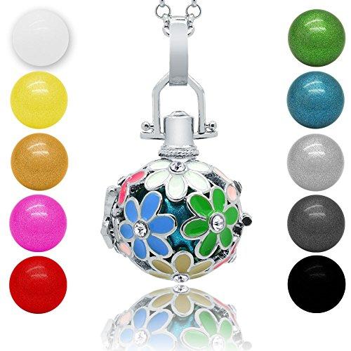 Klangkugel Kette Engel Rufer Ball Angel Anhänger Glöckchen Glücksbringerr, Modell:Modell 8;Farbe:grün