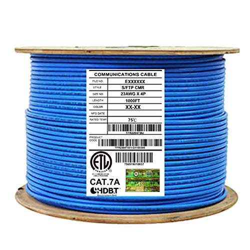 CAT7A Shielded Riser (CMR), Ethernet Cable 1000ft Reel, Shielded Foil Twisted Pair (S/FTP) 23AWG, Solid Pure Bare Copper, 1000MHz, UL Certified, Easy Pull, Bulk Networking Cable - Blue