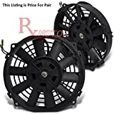 DPT, DPT-RAF-10+FMK-X2, Two 10 Inches Ten Blades Black Electric Radiator Cooling Slim Fans 3 Inches Thickness with Mounting Kit