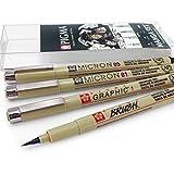 Sakura Pigma Micron - Bolígrafos de punta fina (4 unidades), color sepia