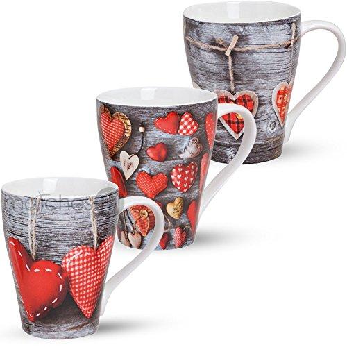 matches21 Schöne Tassen Becher Kaffeebecher Herzen & Holz rot grau 3-tlg. Set aus Porzellan gefertigt, je 10 cm hoch / 300 ml