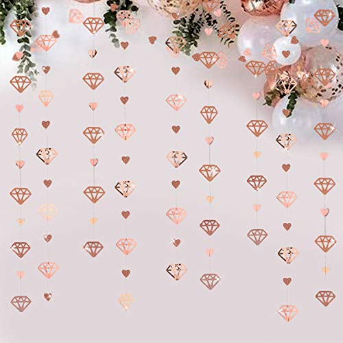 Pink Blume 52 Pieds Coeur Diamant Rose Or Décoration Suspendue pour Soirée Double-Face Guirlande Métallique Bannière pour Fiançailles, Mariage et Anniversaire, Fournitures de Cocktail (4Pcs)