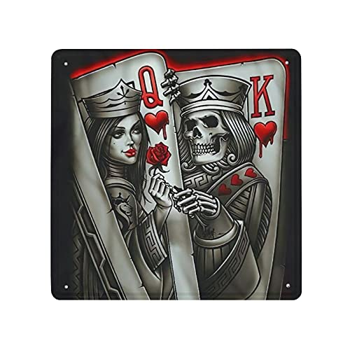 MIFSOIAVV Carteles de Metal Cartas Rey Reina Tatuaje Poker Q y K Placa de la Pared Póster Idea de Regalo para Garage,Taller,Casa o Bar,Diseño Vintage Decorativo 30x30cm