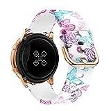 VeveXiao Correa compatible con Samsung Galaxy Watch Active 2 40 mm 44 mm, 20 mm de liberación rápida, correa de repuesto de silicona impresa para reloj inteligente Garmin Vivoactive 3 para mujer