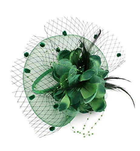 EXCHIC Mujer Sombrero De Fascinator Diadema de Plumas de Flores Boda Headwear (# Verde oscuro)
