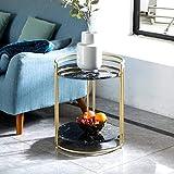 XYSQ Runder Beistelltisch Seite Accent Tisch Wohnzimmer Mit Marmor Sofa Couchtisch, Einfaches Bett Mit Doppelschlafsofa, Beistelltisch Mit Eisen-Aufbewahrungs Corner (Color : Black)