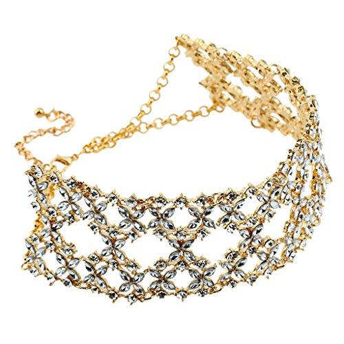 Hellery Charm Wrap Plata Oro Cadena Gargantilla Capa Gota Collar Vintage Bling Rhinestone - Oro