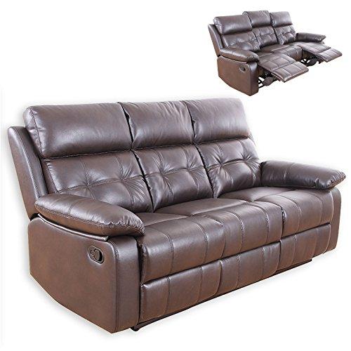 ROLLER 3-Sitzer Sofa - Dunkelbraun - Kunstleder - Relaxfunktion
