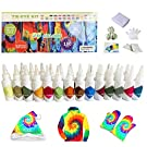 Tie Dye DIY Kit, 26 Colors Tie Dye Shirt Fabric Dye Art Tie-Dye Kit Party Creative Group Activities, DIY Fashion Dye Kit, Rainbow Rubber Bands, Gloves, Apron and Table Covers