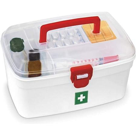 Milton Plastic Rectangular Medicine Box, Medical Box, First aid Box, Multi Purpose Box, Multi Utility Storage with Handle (White, Standard ).