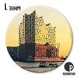 Pickmotion Design Magnete - rund 76mm - Motiv: Hamburg Elbphilharmonie