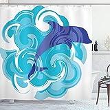 ABAKUHAUS Delphin Duschvorhang, Wellen Aqua Leben Natur, mit 12 Ringe Set Wasserdicht Stielvoll Modern Farbfest & Schimmel Resistent, 175x200 cm, Violettblau Himmelblau