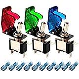 Gebildet 3pcs Interrupteur à Bascule DC12V 20A,avec Capuchon Étanche+LED(Rouge,Vert,Bleue),SPST Métal Interrupteur à Levier,on/Off 2 Positions 3 Broches,Utilisé pour la Voiture Auto Camion Bateau