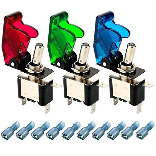 Gebildet 3pcs Kippschalter LED Licht Schalter(Rot,Grün,Blau) 20A 12VDC, EIN/AUS Wippschalter mit Metallhebel,SPST 3-polig Rocker Toggle Switch,zum Auto KFZ LKW Boot