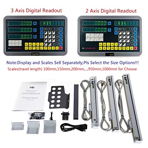 2/3 Axis Digital Readout and TTL Precision Linear Glass Scale DRO Encoder for Milling Lathe,Note: Display and Scales Sold Separately, pls Select the Size options! (100mm travel length scale ONLY(4