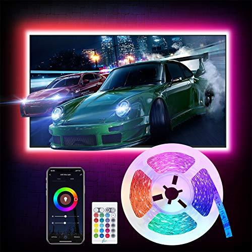 Alexa 3M LED TV Hintergrundbeleuchtung, Etersky Smart Led Fernseher Strip Streifen, RGB Wlan Lichtband kompatibel mit Alexa, Google Assiatant, Sync mit Musik für 40-60 TV-Bildschirm und PC-Monitor