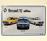 Plaque métal 'Renault 12' I&S collector (15x20cm) *modèle en relief*