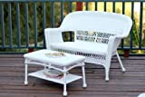 Jeco Wicker Patio Love Seat and Coffee Table Set without Cushion, White