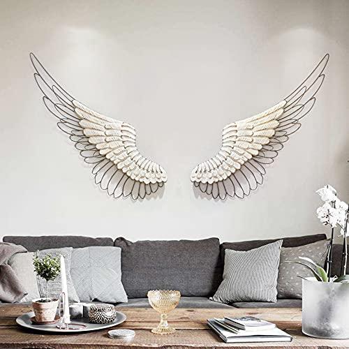 HQL Decoración de Pared de alas de ángel, decoración de Pared de alas de ángel de Madera Antigua, Escultura Decorativa de Pared de alas de ángel, Silueta de Pluma de línea de Metal 3D,Blanco