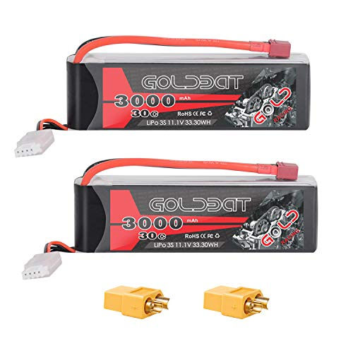GOLDBAT 3S 11.1V 3000mAh 30C Lipo Battery with Dean-Style T and XT60 Connector for RC Car Airplane Helicopter Boat Drone FPV and Quadcopter Radio Control Toy (2 Packs)