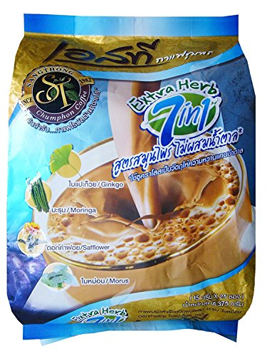 S.T.Chumphon - Natural Herbal Coffee with Moringa Morus Safflower and Ginkgo - Exotic Coffee, 375g (15g x 25 Sachets)