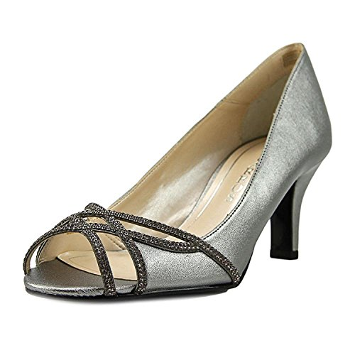 Caparros Eliza Sparkle Peep Toe Dress Heels, Pewter Metallic, 6.5 US