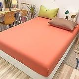 FJMLAY Sábanas ajustablesperfecto para el colchón, sensación Suave,Sábanas de algodón, Almohadillas Protectoras para dormitorios y Apartamentos-Pink_4_120x200cm