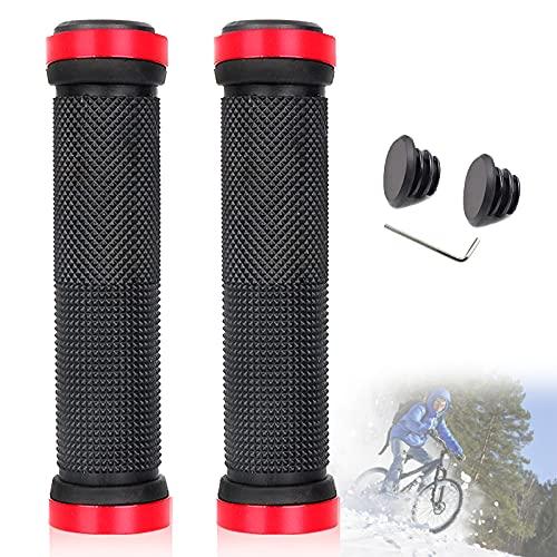 SXJXB Puños de Bicicleta de Montaña con Doble Bloqueo, Cómodos Puños de Manillar de MTB con ABS Antideslizante, Puños de Bloqueo de Sujeción para Montaña, Scooter, Bicicleta Plegable,Rojo