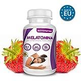 Melatonina da 0,5 mg con vitamina B6, 60 compresse di melatonina masticabile alla fragola con effetto veloce, regola il ciclo del sonno. NOVONATUR.