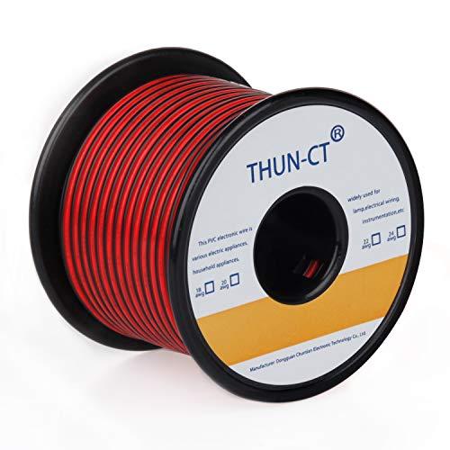 de cable trenzado de 20 AWG Cable eléctrico (24 metros) cable rojo...