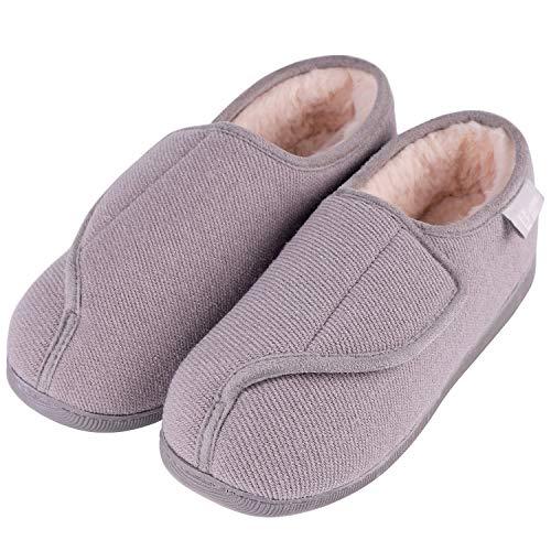 LongBay Women's Furry Memory Foam Diabetic Slippers Comfy Cozy Arthritis Edema House Shoes (8 B(M), Gray)