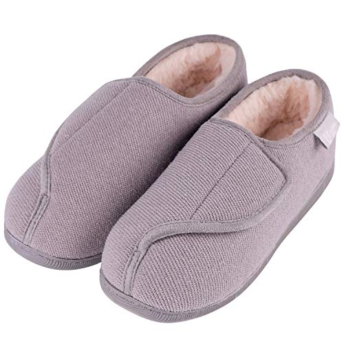 LongBay Women's Furry Memory Foam Diabetic Slippers Comfy Cozy Arthritis Edema House Shoes (9 B(M), Gray)