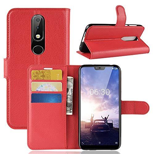 Ycloud Tasche für Nokia 6.1 Plus 2018 Hülle, PU Kunstleder Ledertasche Flip Cover Wallet Hülle Handyhülle mit Stand Function Credit Card Slots Bookstyle Purse Design Rote