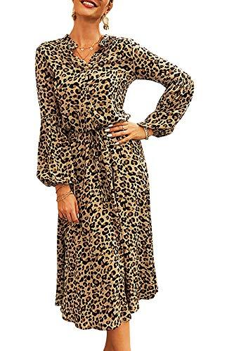 HenzWorld Vestido de Leopardo para Mujer Manga de Campana con Cordón Cintura Elegante Vestido Holgado con Cuello en V Bohemio Vestidos Casuales Marrón Talla XL