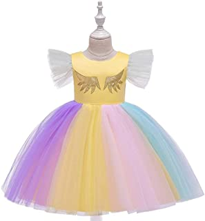 SEASHORE Princess Skirt lace Girl Bow Flower Girl Wedding Performance Piano Costume 4-12 Years Old (Color : Yellow, Size : 10-11T)