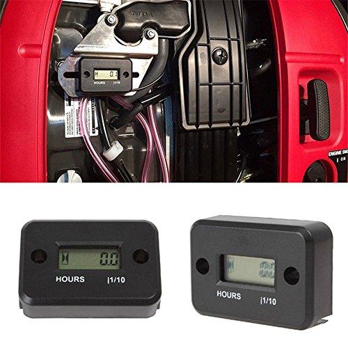 HKIASQ Waterproof LCD Display Digital Hour Meter Gauge Timer for Quad Bike Motorcycle Snowmobile Motocross Pit Bike Lawn Mower Tractor Truck